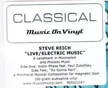 Steve Reich - Live / Electric Music  [LP]